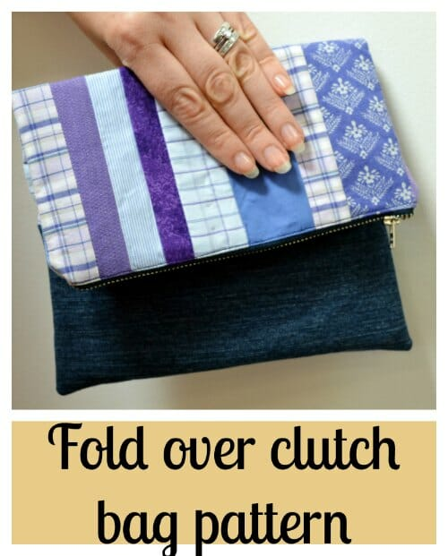 Fold Over Clutch Bag Pattern Denim And Cotton Fabrics Combined To Create Stylish Unique
