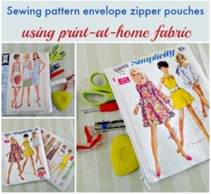 I HAVE to make me one of these. Print your own fabric with a sewing pattern envelope and make your own sewing pattern zipper pouch. NEED IT!
