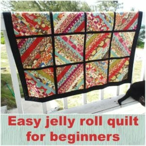 Quick and simple jelly roll quilt, made with a single jelly roll plus a solid for sashing. Love the modern look.