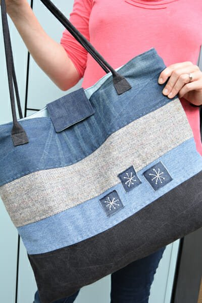 Large Denim Upcycled Tote with Corded Bag Handle