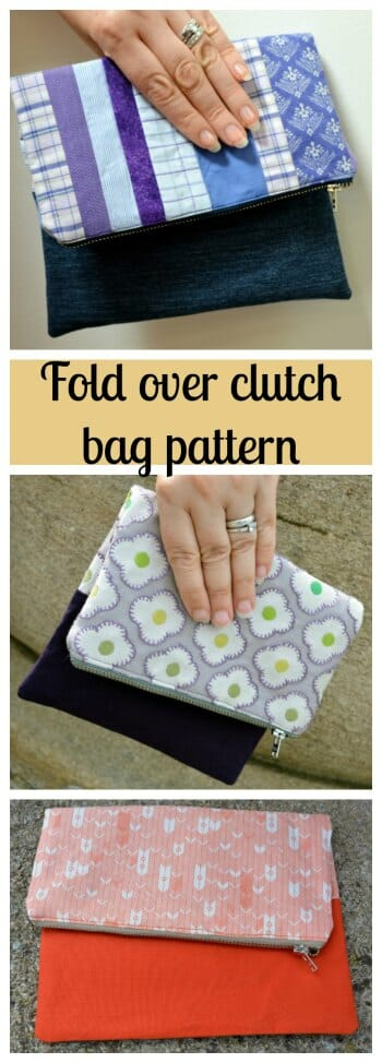 Fold Over Clutch Bag Pattern - denim and cotton fabrics combined to create stylish unique clutch
