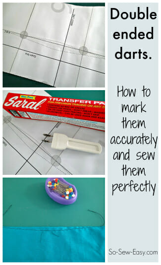 The easy way to mark and sew double ended darts. Now I KNOW I can get them exactly level with this method.