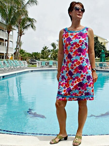 Sew your own designer dress using the simple Lilly Shift Dress pattern. Ideas for designer style embellishments.