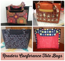 See all the wonderful and inspiring examples of the Conference Tote bag as sewn by the So Sew Easy readers in the recent sew-along. You can still join!