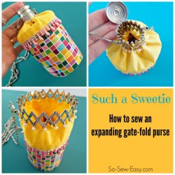 This is adorable! Use a beaded or glamorous fabric for an evening bag or a pretty print and lace or beads for a little girls purse.