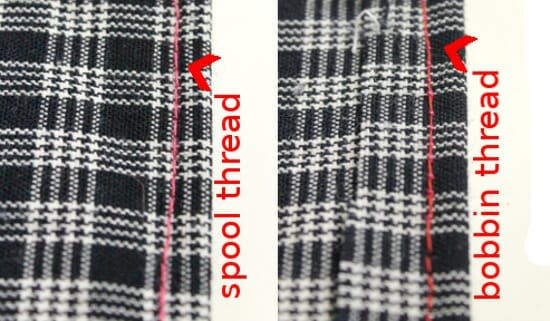 Serger Pepper 4 So Sew Easy - Rolled Hem Foot tutorial - check the balance between bobbin and spool thread