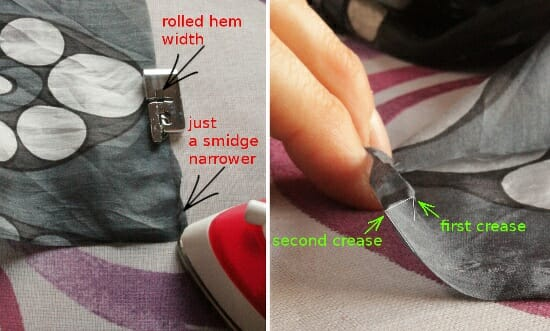 Serger Pepper 4 So Sew Easy - Rolled Hem Foot tutorial - press creases before you sew