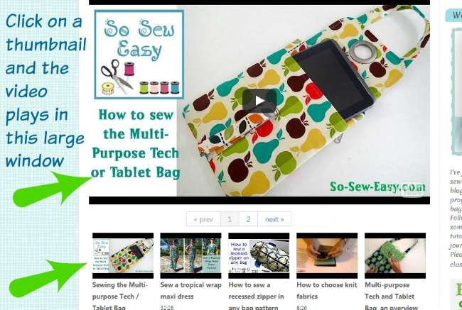 Sewing video tutorials