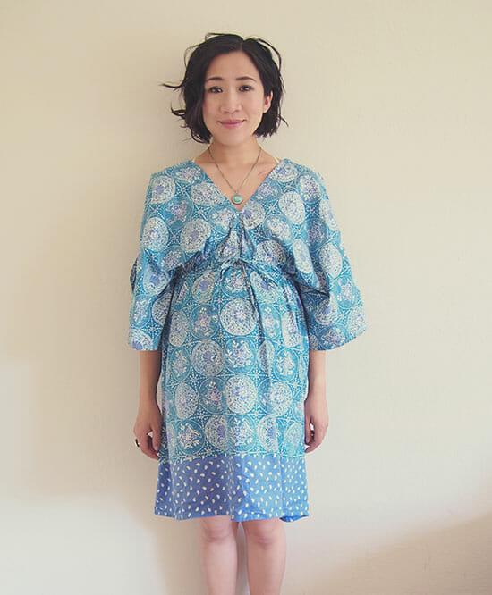 DIY-boho-kimono-dress-free-sewing-pattern-FRONT
