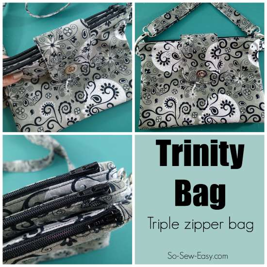 The Trinity Bag is a triple zipper pouch all joined together and closed with a flap and with a removable strap. I've never seen a pattern for a bag like this before - I need one!