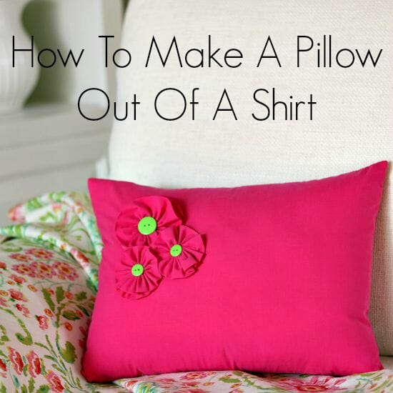 Easy way to make a pillow out of a shirt - already has a button closure ready to use for the back!