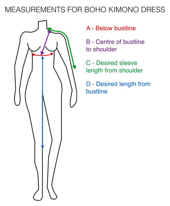How to make boho kimono dress - measurements