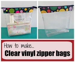 How to make clear vinyl zipper bags. I use mine to keep fabric, thread, pattern and zipper together for planned projects, but these are good for lots of things. Think first aid kit!