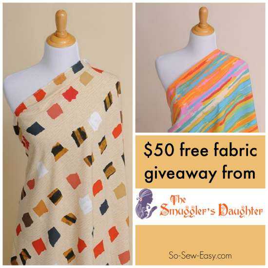 Smugglers Daughter $50 fabric giveaway at So Sew Easy.  Open until 1 Nov 2015.