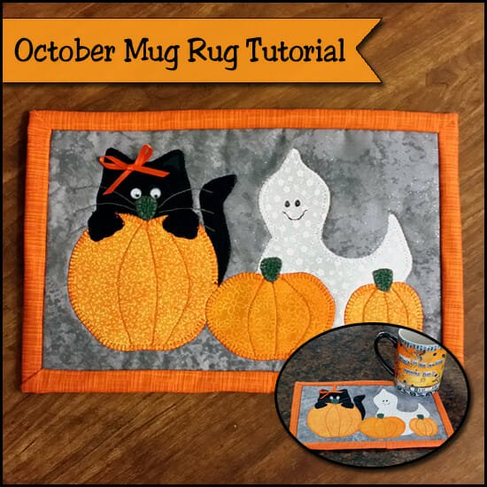 This is just the cutest Halloween Mug Rug pattern. Free pattern.