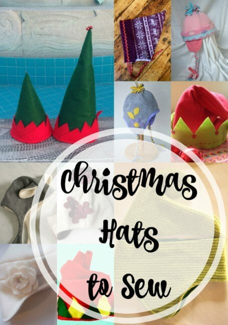 Christmas Hats to Sew for Kids and Adults.  From the traditional elf and santa hats, to all sorts of fun and keep-warm ideas.