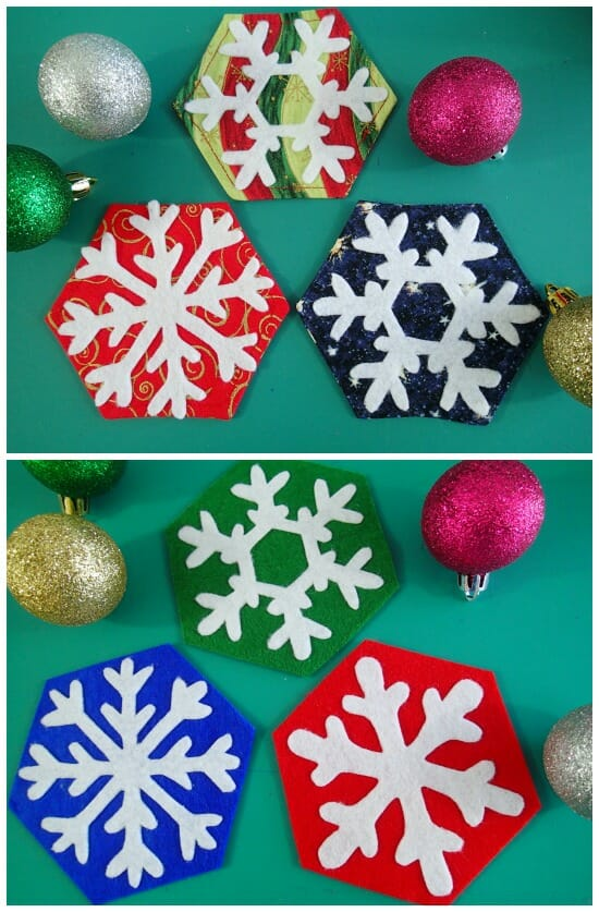Quick and easy snowflake coasters to sew in either fabric or no-sew in felt too. Fun kids activity or ideal hostess gifts too.