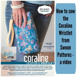 Video tutorial on how to sew the Swoon Coraline wristlet purse,