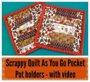 Ideal for beginners. Full video tutorial on how to make a quilt as you go scrappy pot holder with binding. Anyone can do it!
