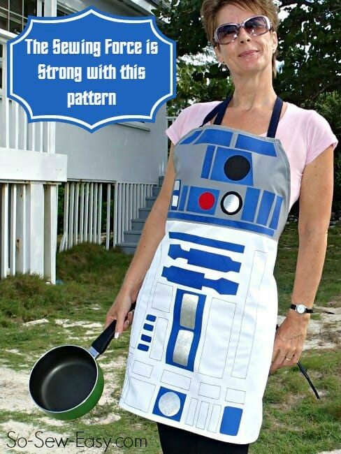 Squeal!  A chance to show my geeky side and my love of Sci-Fi with this free apron pattern.  Running to the fabric shop right now!