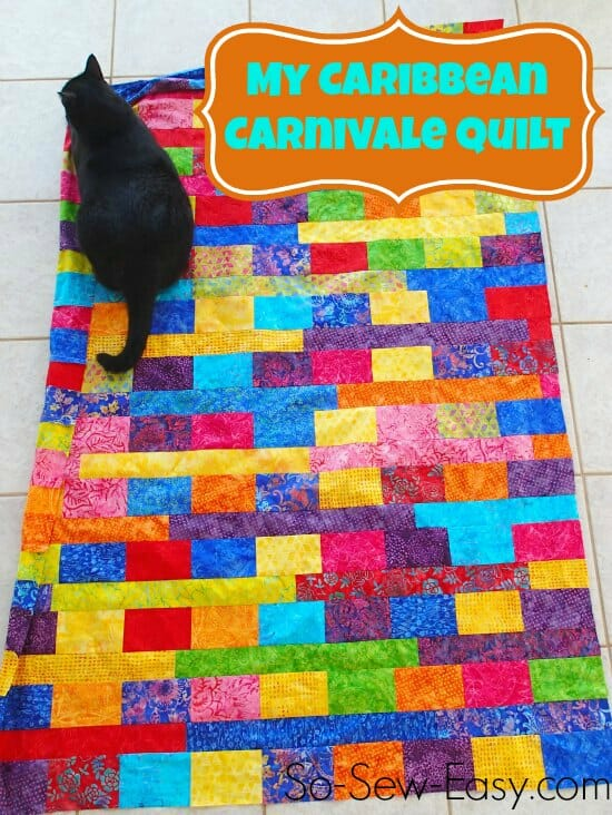 All the bright and crazy colors of the Caribbean combined in a single easy quilt for beginners. Don't like it bright? You can make this from any 6 inch strips.