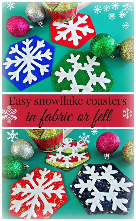 Sous-verres en flocon de neige rapides et faciles à coudre en tissu ou en feutre sans couture.  Activité amusante pour les enfants ou cadeaux d'hôtesse idéaux aussi.