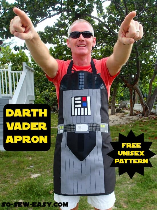 OMG, my guy is going to LOVE this Darth Vader apron.  Unisex pattern, for gals too or scale down for the kids.  Check out the R2D2 one on this site too.