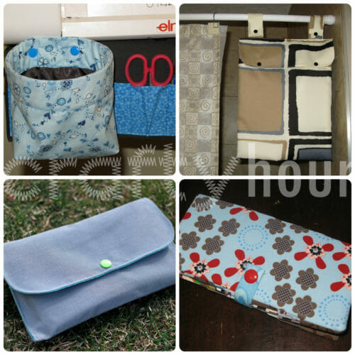 L-R: thread catcher basket, wetbag for washcloths, cash envelope clutch, card wallet