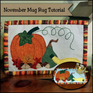 Sew this Autumn Harvest mug rug pattern. Nice for Thanksgiving tables too.
