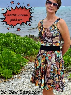 Free sewing pattern for this easy summer dress. Love the circle skirt and the v-neckline at the back.
