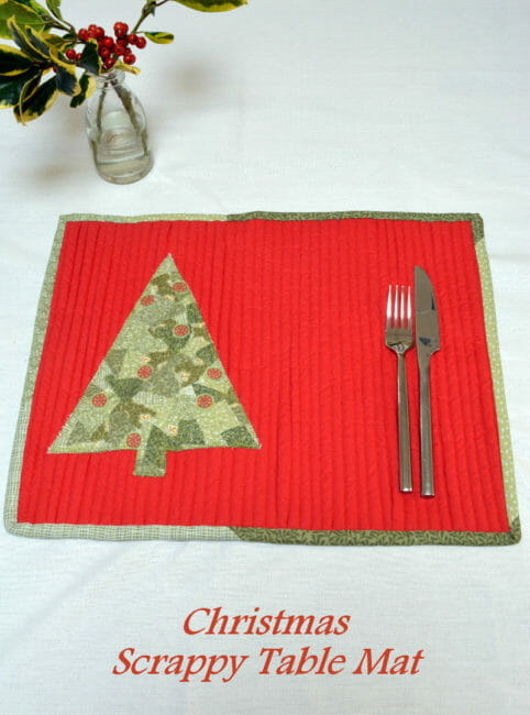 Scrappy Christmas Table Mat tutorial. That tree is made up of all the tiniest pieces - how its done is genius!