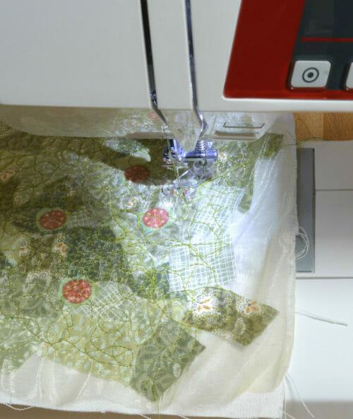 machine embroider fabric scraps