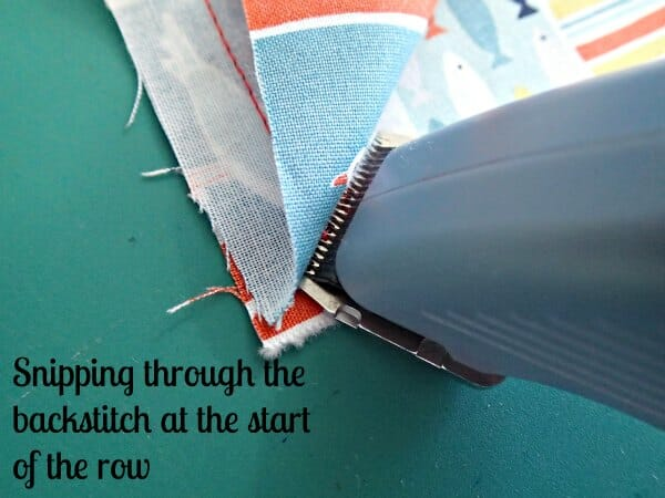 electric seam ripper - starting the seam