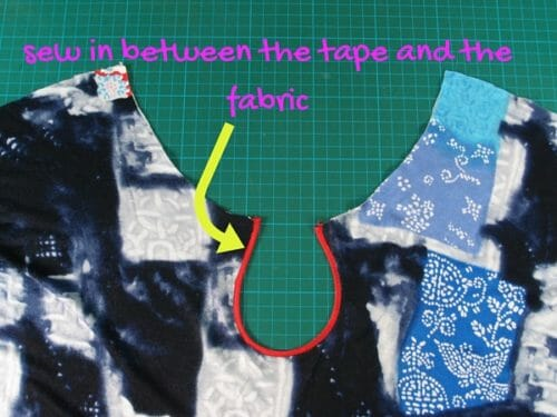 sew in between the tape and the fabric