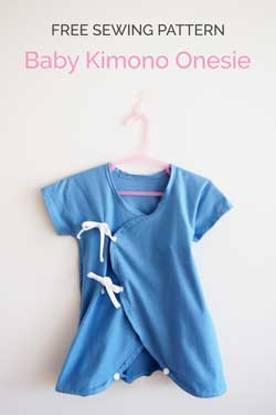 Free Baby Kimono Onesie Sewing Pattern: Make this cute kimono style onesie for your little one or as a lovely baby shower gift.