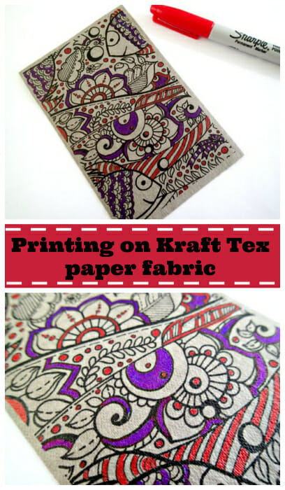 Results for printing on Kraft Tex. The printing was good, but not so much the Sharpies!