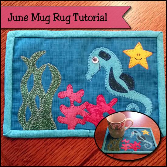 June seahorse mug rug
