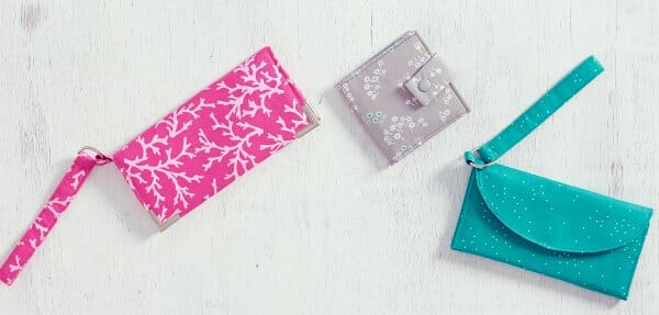 Sew 3 simple wallets and learn lots of new sewing skills along the way.