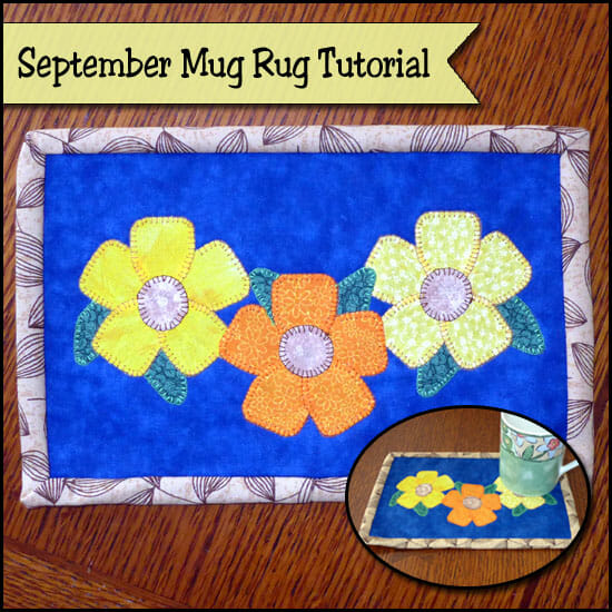 """Fall Flowers Mug Rug Tutorial"" Free Pattern designed by Sher from So-Sew-Easy"