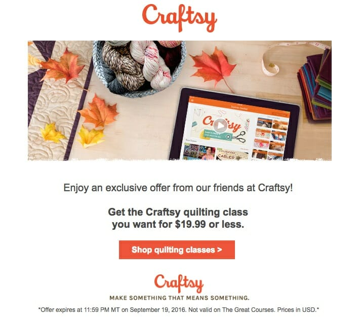 Craftsy quilting offer