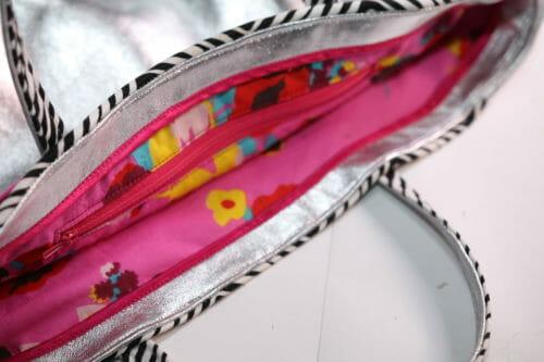 leather and fabric handbag