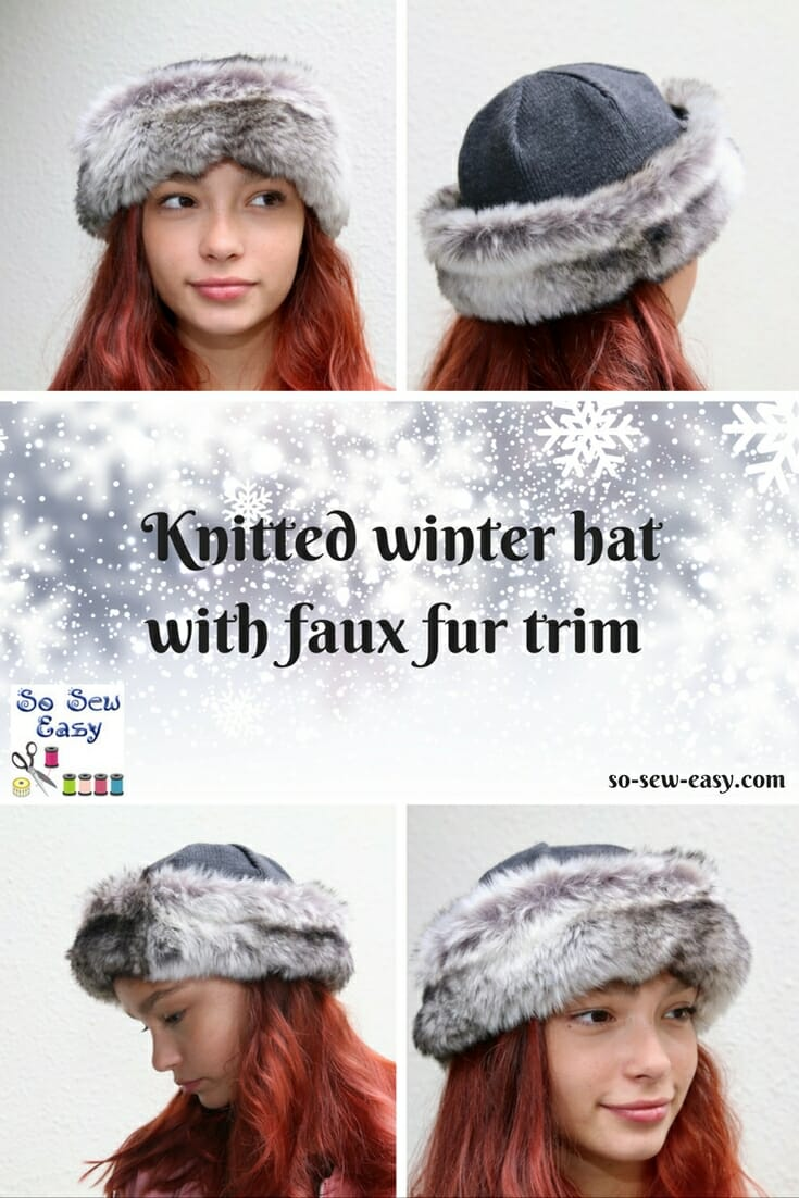 e85250a61dc Winter hat with faux fur trimming FREE pattern   tutorial - So Sew Easy