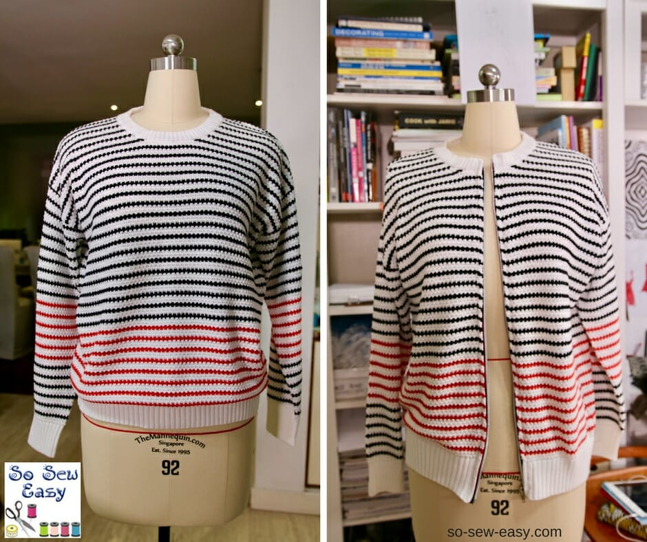 transform sweater into cardigan