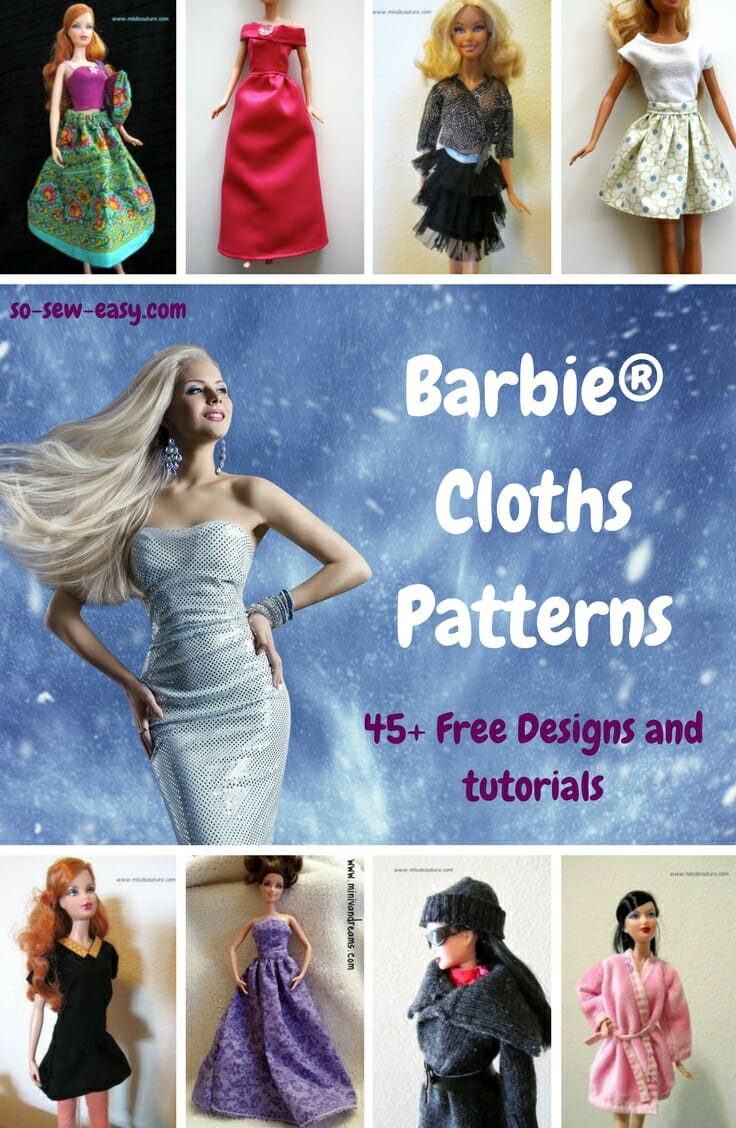 Barbie Clothes Patterns 45 Free Designs Tutorials So Sew Easy