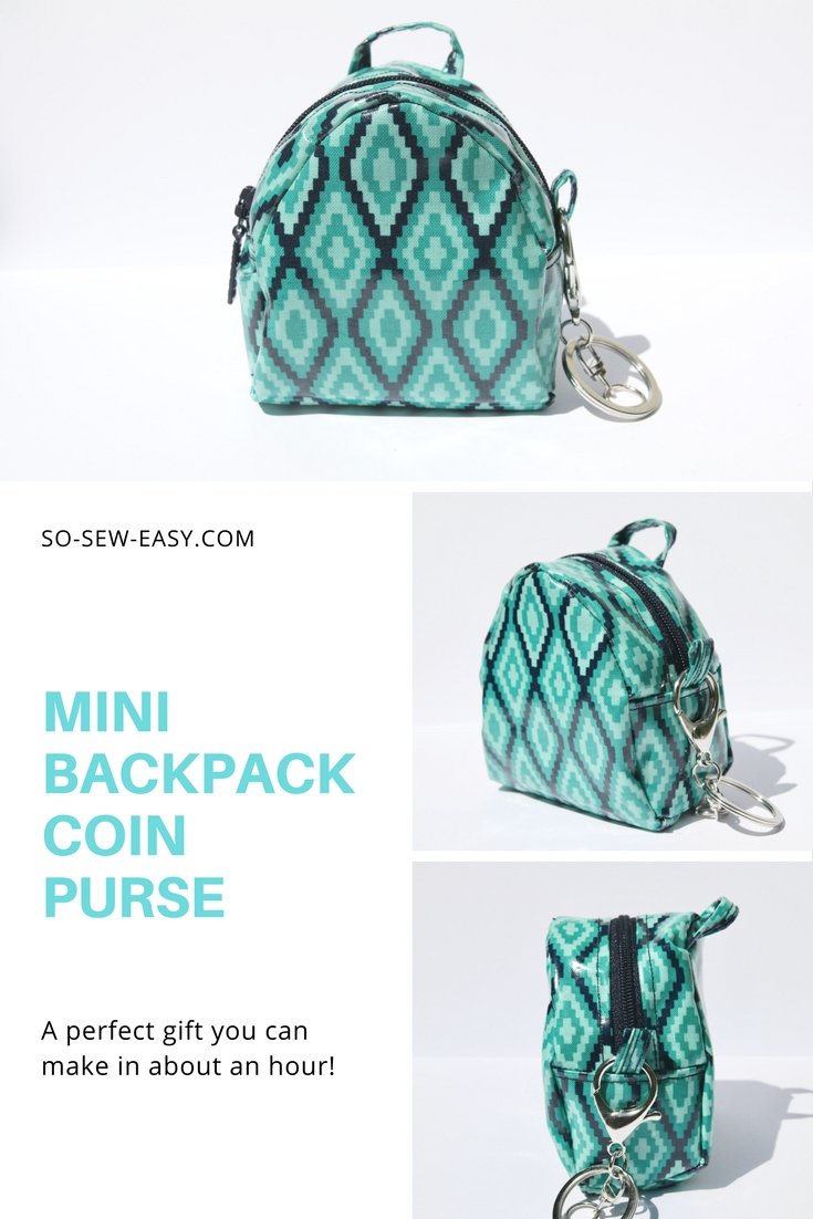 Mini Backpack Coin Purse Pattern - FREE and Easy! - So Sew Easy