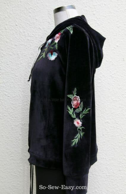 Embroidered Velvet Hoodie Pattern