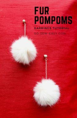 fur pompom earrings