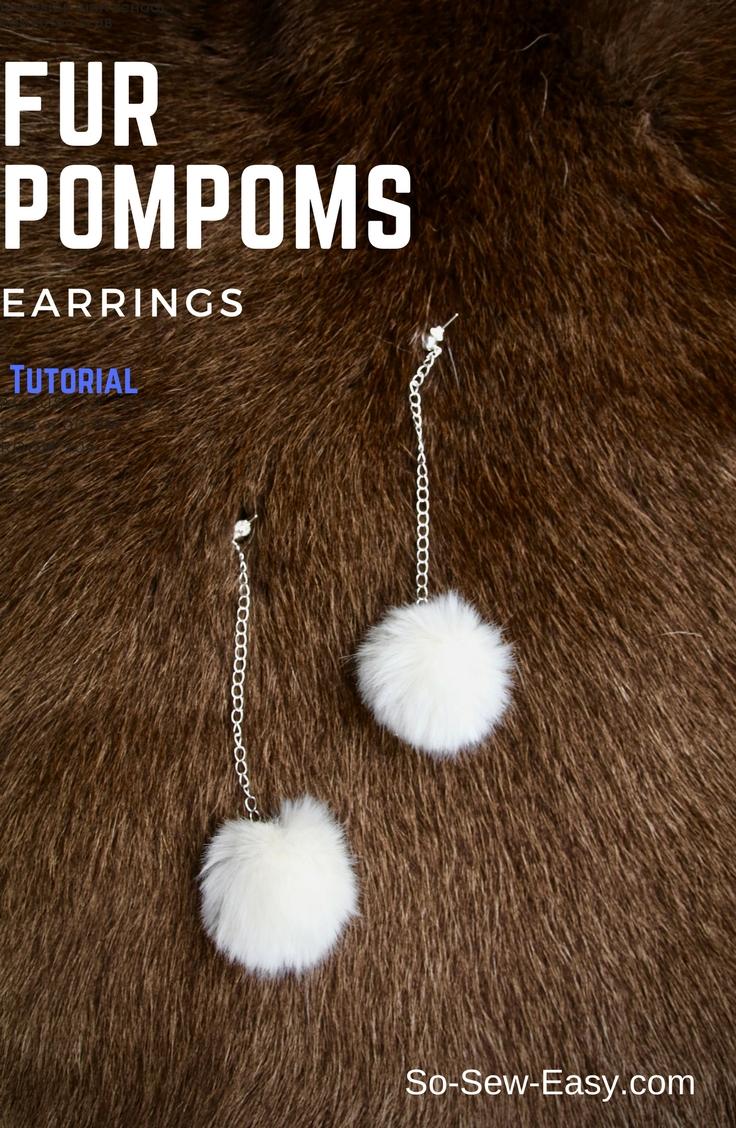 fur pompoms earrings