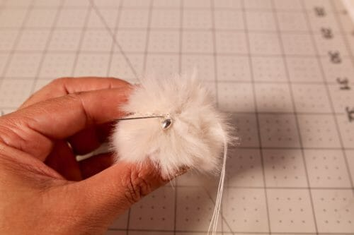 fur pompoms earrings