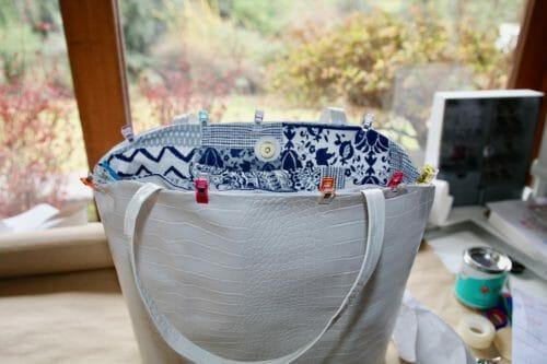Reversible Fabric Vinyl Tote Bag